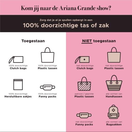 """Enkel doorzichtige tassen toegelaten op concert Ariana Grande: """"Uitzonderlijke maatregel"""""""