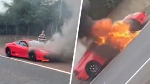 Rode Ferrari vat plots vuur op snelweg: bestuurder moet vluchten, wagen tot schroot herleid