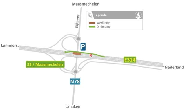 E314 vanaf vrijdagavond opnieuw dicht richting Lummen
