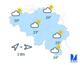 Heerlijk zomerse dag met temperaturen tot 24 graden, daarna frisser