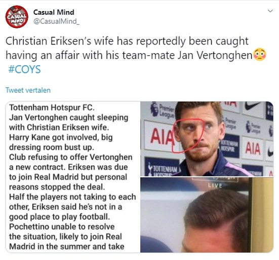 Jan Vertonghen en Tottenham-ploegmaat Christian Eriksen lachen met gerucht over vermeende affaire