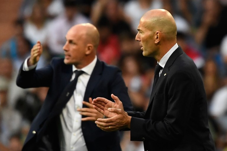 """Hilariteit door opmerkelijk beeld tijdens Real Madrid - Club Brugge: """"Zidane doet drie jobs tegelijkertijd"""""""