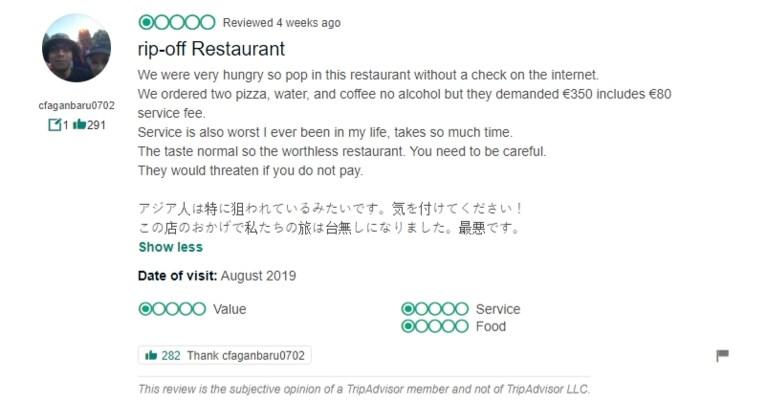 Toeristen in Rome klagen over rekening van 430 euro op restaurant, nu wil uitbater hen aanklagen