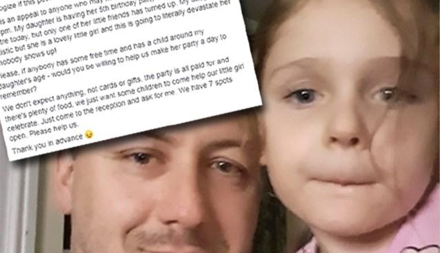 Vader doet emotionele oproep nadat slechts twee vriendjes opdagen op feestje voor jarig dochtertje (5) met autisme