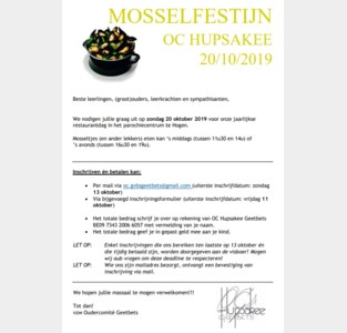 Oudercomité Hupsakee Geetbets houdt Mosselfestijn