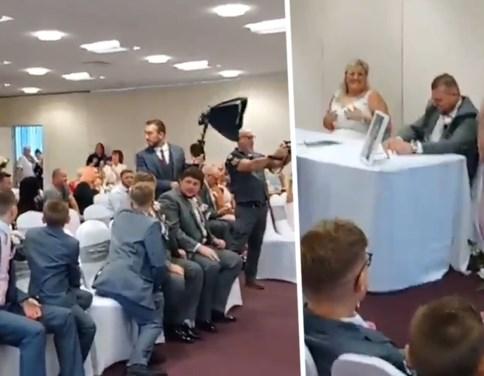 """En plots wordt huwelijk verstoord door zingende, 'ongenodigde' gast in trouwjurk: """"Ik had het moeten zijn"""""""