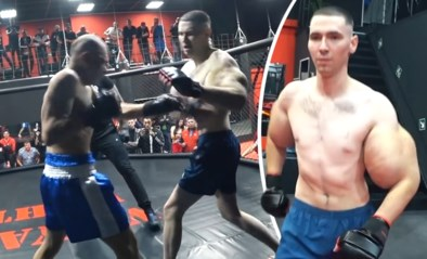 Levensechte 'Popeye' met reusachtige biceps houdt het niet lang vol in boksring