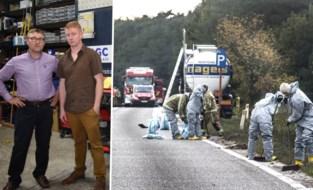 """Kris en Joeri grepen in nadat tankwagen was lekgeslagen, maar werden onwel: """"Het had veel erger kunnen aflopen"""""""