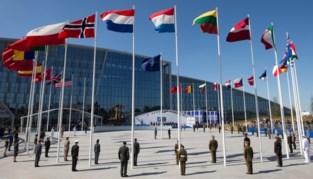 Bewakingsagenten betogen aan NAVO-hoofdzetel voor meer koopkracht