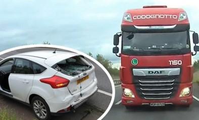Bestuurder staat stil in file en krijgt plots schrik van zijn leven door aanstormende vrachtwagen achter zich