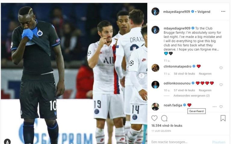 Opvallend: aantal spelers van Club Brugge steunt Diagne op sociale media