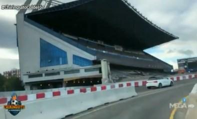 VIDEO. De hoofdtribune staat er nog, maar plots loopt er ook een snelweg door het oude stadion van Atlético Madrid