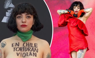 Awardwinnende zangeres verschijnt topless op rode loper uit protest tegen politiegeweld