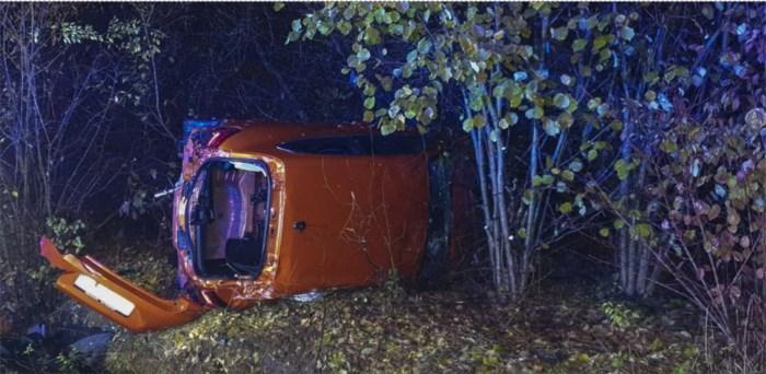 Auto crasht in struiken langs de weg