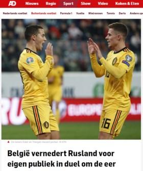 """Buitenlandse pers kijkt met grote ogen naar sterke Rode Duivels: """"Sprankelend voetbal, één van de favorieten voor het EK"""""""