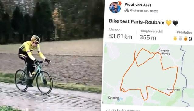 VIDEO. Wout van Aert verkent vier kasseistroken van Parijs-Roubaix in ritje van 83 kilometer