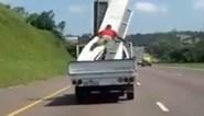 Arbeider zet zijn leven op het spel en klampt zich vast aan lading golfplaten in truck, maar dat blijkt absoluut geen goed plan