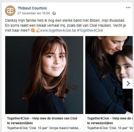 Thibaut Courtois in de bres voor Chloé, die medicijn van 100.000 euro nodig heeft om te genezen
