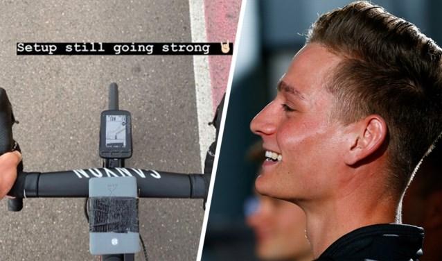 """Het grapje van Mathieu van der Poel op stage: """"Tien uur op de fiets!"""""""