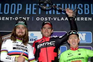Peter Sagan werd in 2017 tweede in de Omloop Het Nieuwsblad achter Greg Van Avermaet
