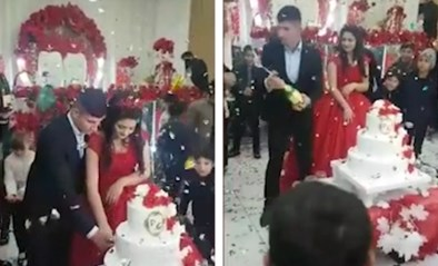 Onverwachte wending: bruidegom is trouwfeest kotsbeu en gooit met champagnefles
