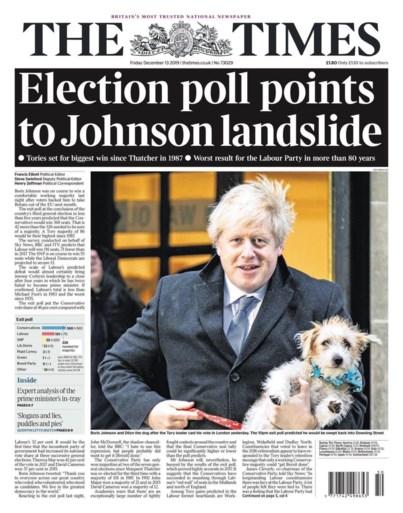 Brullende leeuw, nachtmerrie en aardverschuiving: Britse kranten over de overwinning van Boris Johnson