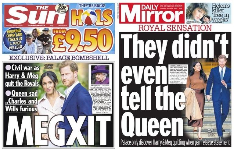 """Britse kranten over 'Megxit' van Harry en Meghan: """"Bedroefde Queen wist van niets, Charles en William zijn woedend"""""""