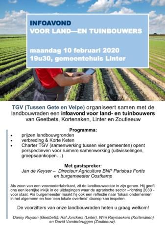Infoavond voor land- en tuinbouwers in gemeentehuis van Linter