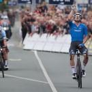 Elia Viviani is de huidige Europese kampioen. Hij versloeg in Alkmaar landgenoot Yves Lampaert.