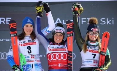 Federica Brignone en Petra Vlhova moeten de zege delen in Sestrières, Mikaela Shiffrin derde