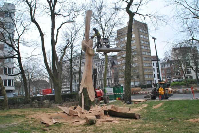 """Kunstenaars zetten hun overtuiging kracht bij met de kettingzaag: """"Bomen eisen hun plaats op in de stad"""""""