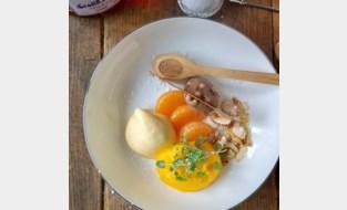Hap en Tap. Sorbet en schuim van mandarijnen, krokante chocoladekaramel, amandelen