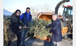 Kerstbomen niet verbrand, maar verhakseld op winters feest
