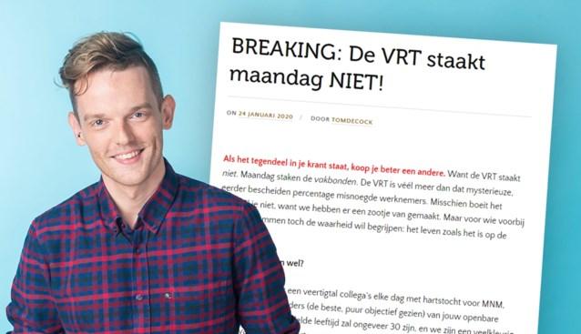 """MNM-dj Tom De Cock valt stakende VRT-vakbonden aan: """"We hebben ze hier nog nooit gezien"""""""