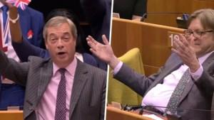 """Nigel Farage wuift Europese Unie uit tijdens laatste speech: """"Geen Guy Verhofstadt meer!"""""""