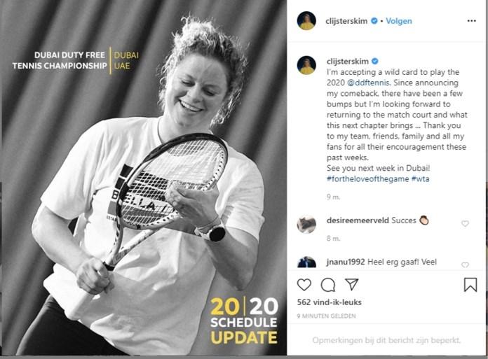 Kim Clijsters vervroegt haar officiële terugkeer: ze speelt volgende week in Dubai