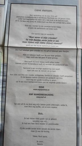 Nadat vader in zijn eigen rouwbericht uithaalde naar vrienden en familie, zet zoon één en ander recht met eigen advertentie