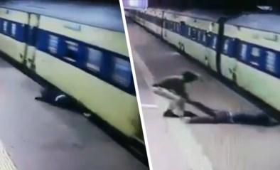 Man glijdt uit en komt onder rijdende trein terecht