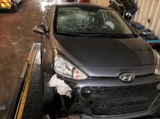 Auto beschadigd na aanrijding everzwijn in Henis