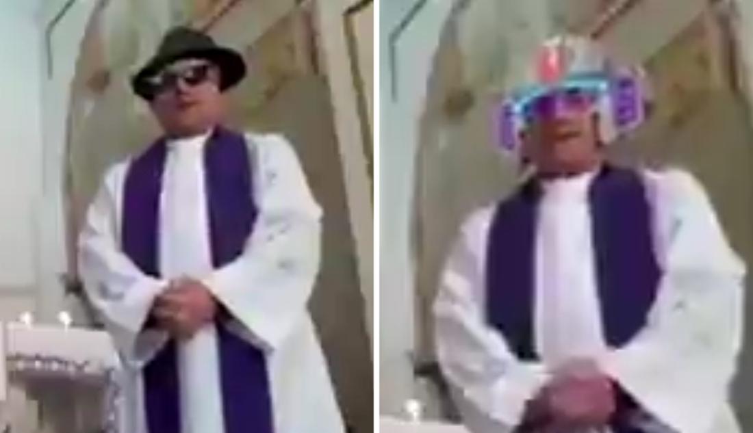Priester preekt online tijdens lockdown, maar drukt per ongeluk op verkeerd knopje met hilarische gevolgen