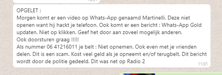WhatsApp-hoax doet opnieuw de ronde: krijg je dit bericht, stuur het dan zeker niet door