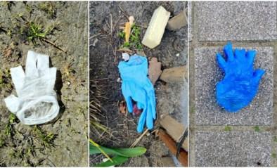 Handschoenen en mondmaskers op straat gedumpt in Gent