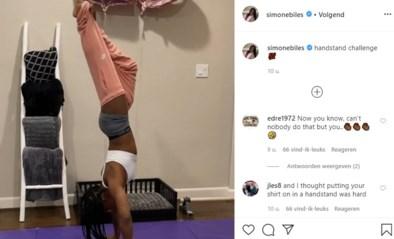 Topturnster Simone Biles tilt de #handstandchallenge naar een hoger niveau