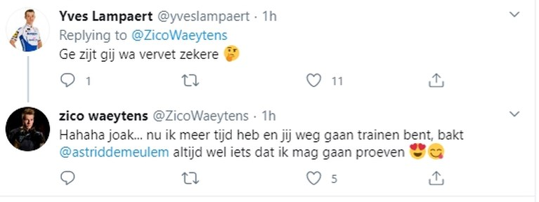 """Yves Lampaert treitert Zico Waeytens na indrukwekkende transformatie: """"Precies wat vetter geworden?"""""""