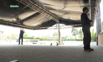 Festivaltenten gebruikt voor openluchtlessen in basisschool Kinrooi