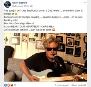"""Geert Bostyn (56) speelt elke dag concertje via Facebook: """"Straks heb ik geen liedjes meer over voor mijn optredens nadien"""""""