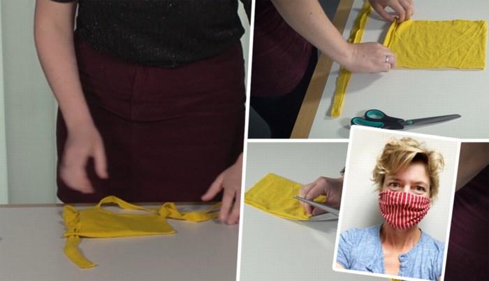 Zes mondmaskers maken uit één T-shirt en zonder naaimachine? Mme Zsazsa leert ons hoe dat moet