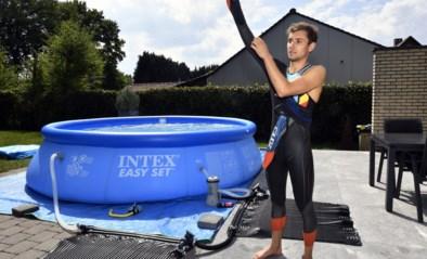 Triatleet Jelle Geens bedenkt geniale oplossing voor zijn zwemtraining in lockdown