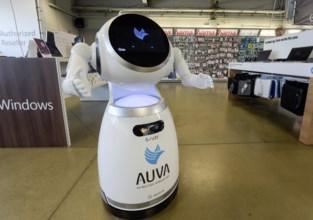 Robot meet lichaamstemperatuur klanten