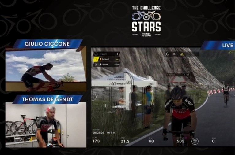 Geen tweede zege op de Stelvio voor Thomas De Gendt, Italiaan Ciccone is klimkoning in Challenge of the Stars